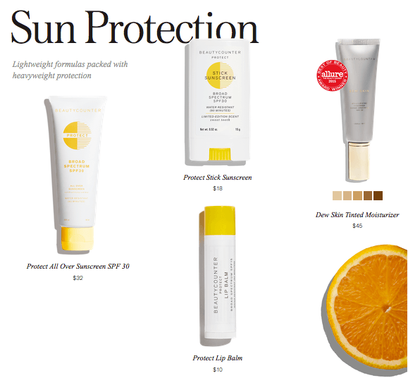 Safe sun lotions from Beautucounter