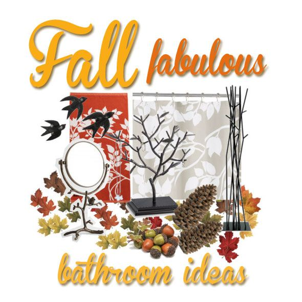 fall bathroom decorating ideas, decorate with birds and trees
