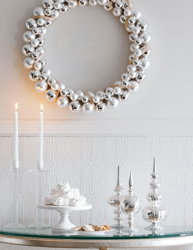 Silver and white Christmas decor as seen @skimbaco