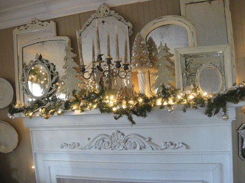 white fireplace mantel for Christmas time