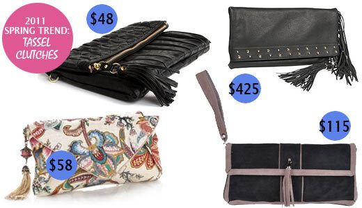 leather clutch with tassels