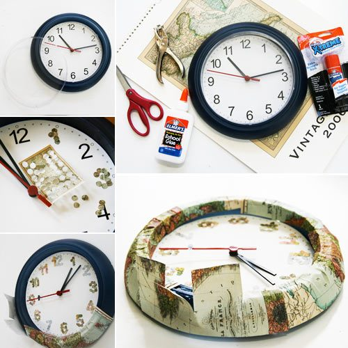 clock with map, world clock, map clock