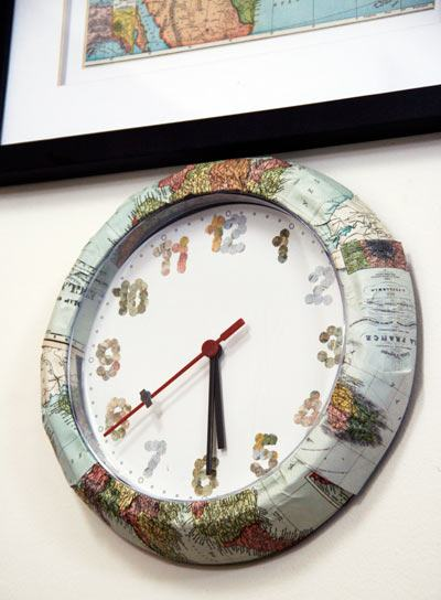 IKEA hack: Two Dollar Clock Gets A Map Makeover - Skimbaco Lifestyle | online magazine