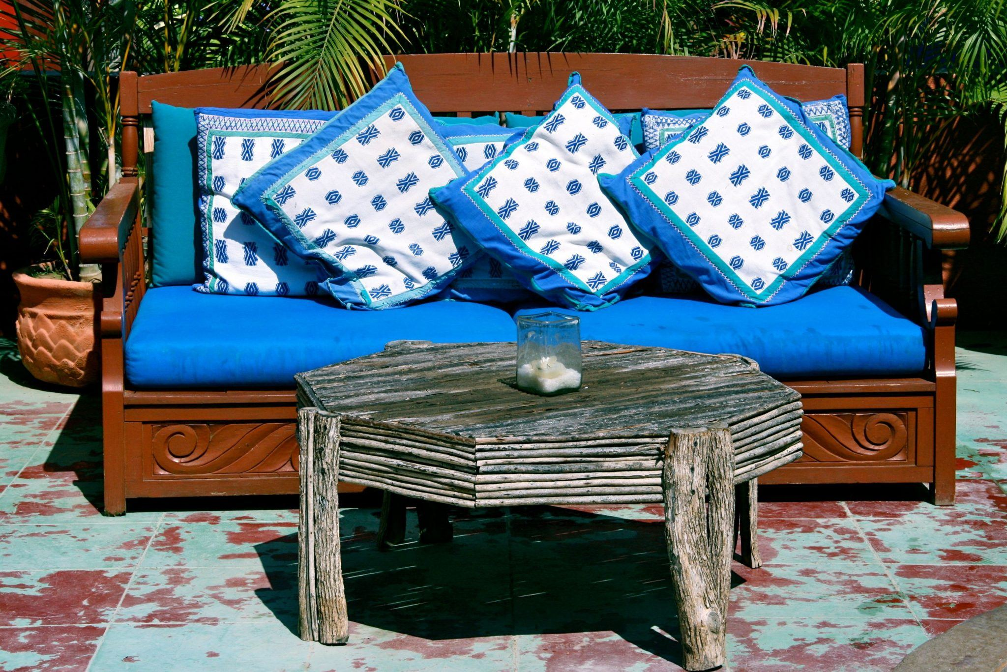 Mexican style outdoor living, poolside, yard, relaxing