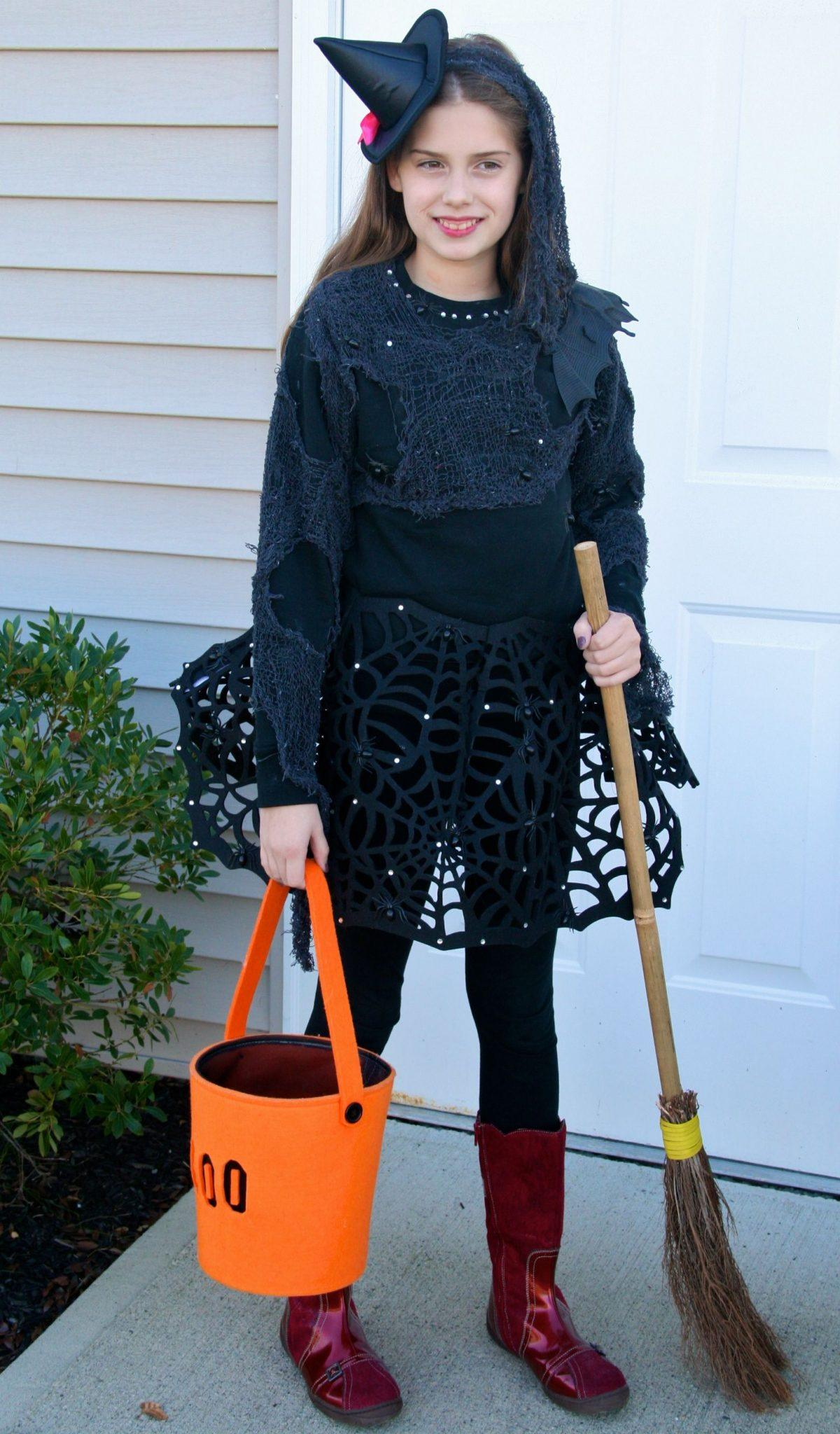 designer witch costume, DIY witch costume for Halloween, witch costume for tween girl