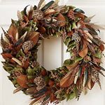 Turkey and Pheasant Feather Wreath, Thanksgiving wreath