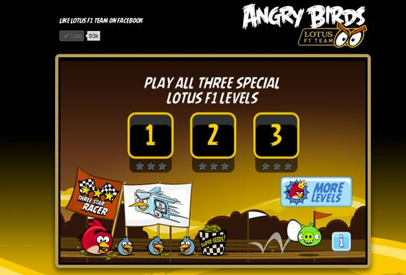 Angry Birds team Lotus Formula 1 game