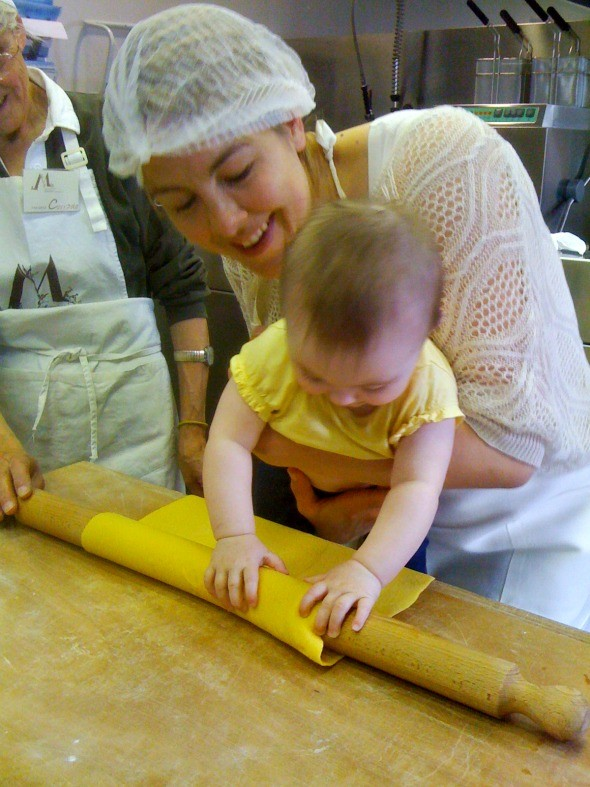 It's never too early to learn the art of making pasta as seen on https://www.skimbacolifestyle.com/2012/08/making-pasta-in-italy.html