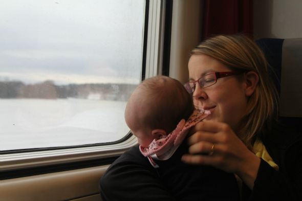 Our baby's first train journey from Oslo, Norway to Stockholm, Sweden