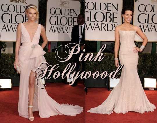 golden globes pale pink dresses, blush dresses, Charlize Theron in pink dress