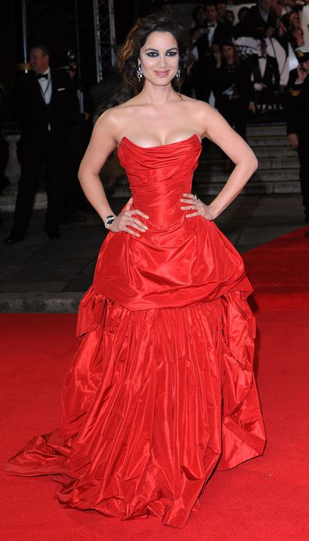 Bernice Marlohe in Skyfall world premiere in Vivienne Westwood, red dress, red carpet