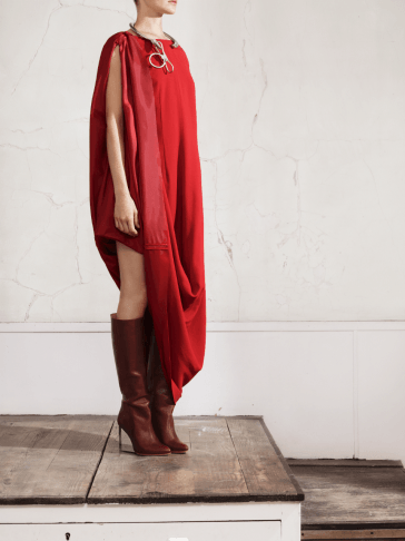 Maison Martin Margiela H&M Collection Look Book Photos, red oversized dress