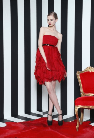 red glamorous Holiday party dress,