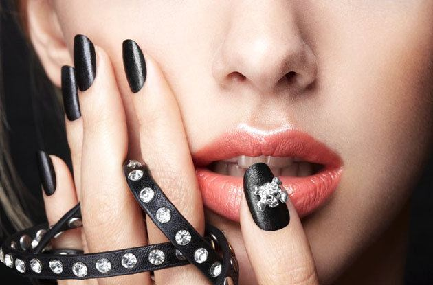 blacl leather nails - leather & skulls set by Nails Inc