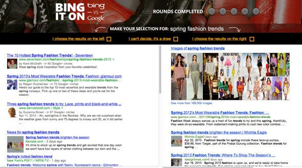 Bing it On Challenge, bing micosoft, search results