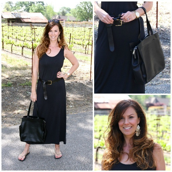 Black Maxi Dress worn monochromatically with gold accents