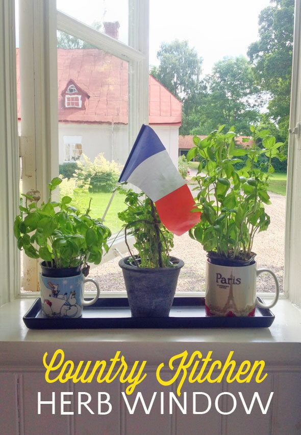 Country kitchen herb window