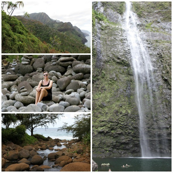 Hike to a waterfall in Kauai