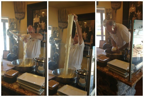 The Owner making fresh mozzarella at Figone's Olive Oil Company in Sonoma Valley