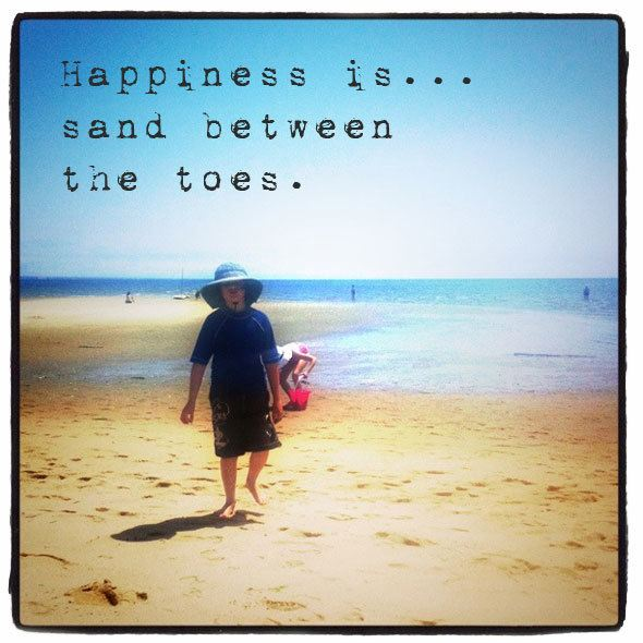 Happiness is... sand between the toes. Beach quotes at  https://www.skimbacolifestyle.com/2013/07/beach-quotes.html