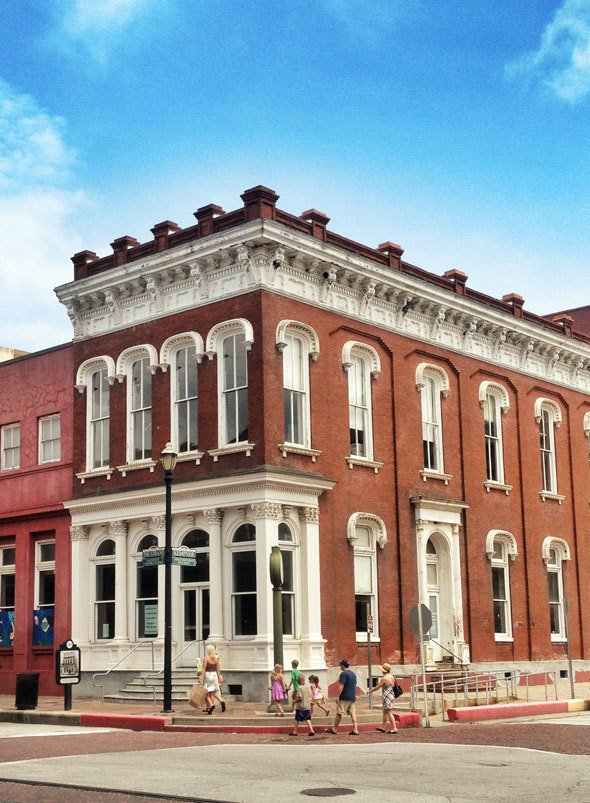Historic buildings in the downtown of Galveston, Texas