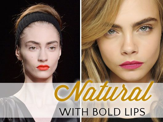 minimalistic natural look with bold lips
