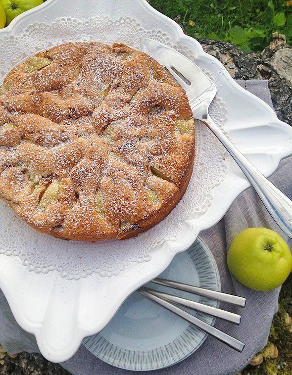 easy apple cake recipe at SkimbacoLifestyle.com