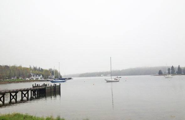 Sailboats in Mahone Bay in Nova Scotia