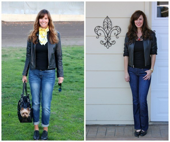 Leather Moto Jacket with Silk Scarf