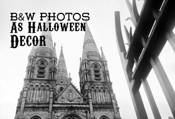 Gothic black and white photos for DIY Halloween decor