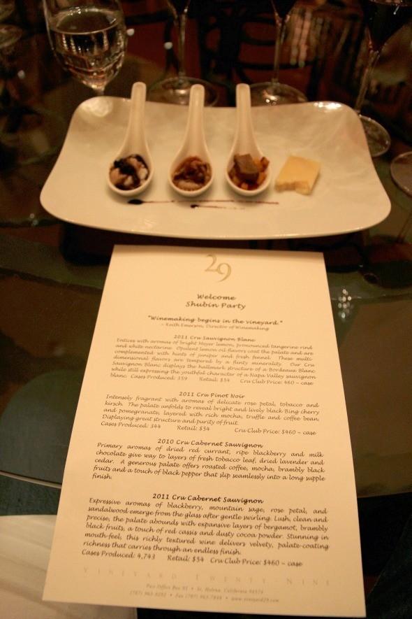 Vineyard 29 Tasting Menu