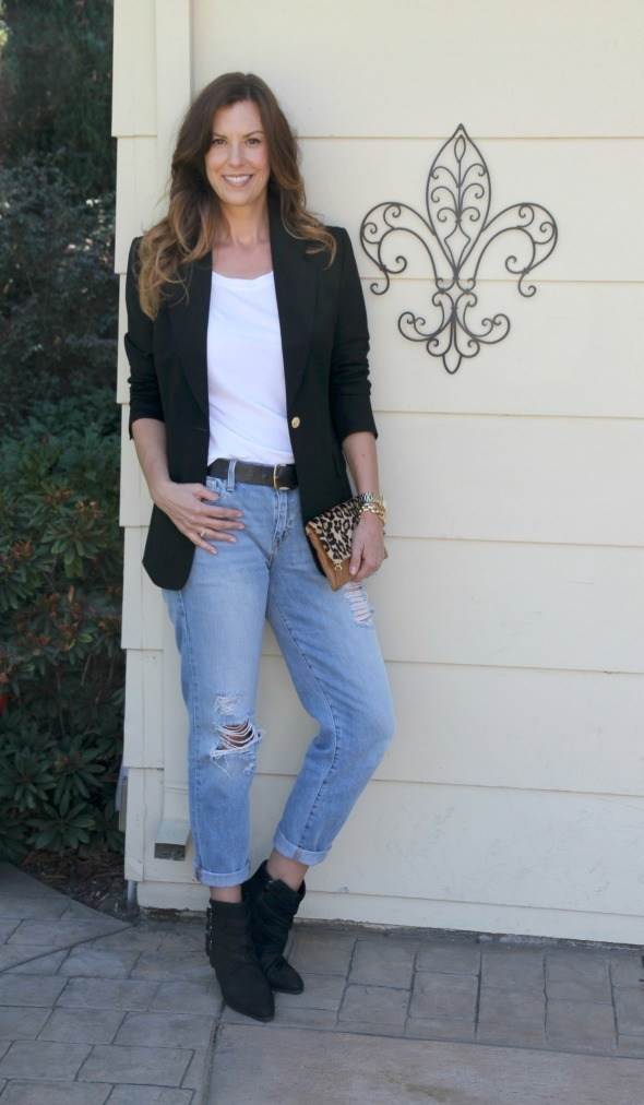 Booties with a blazer and distressed jeans
