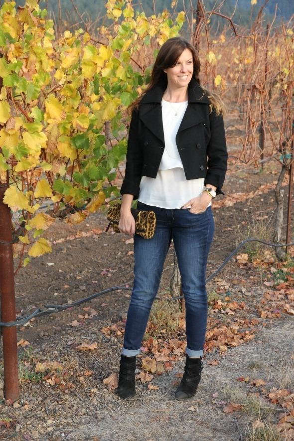 Bootie with a cropped jacket and skinny jeans