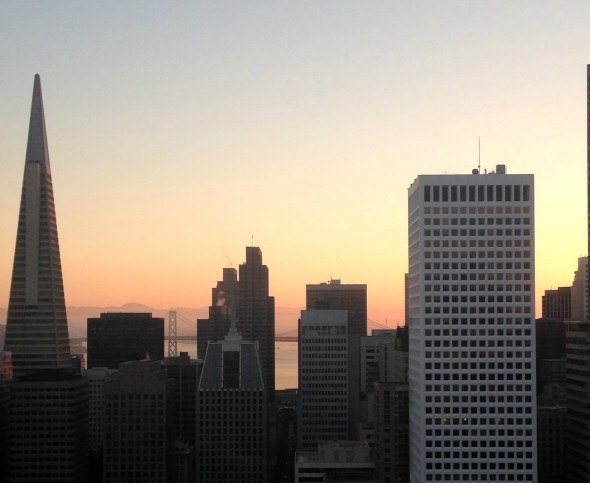 The Financial District view from the Flood Suite at The Fairmont San Francisco