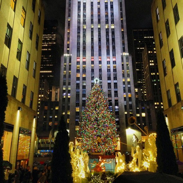 NYC Rockefeller Plaza Christmas tree, photo by @jentemple on Instagram