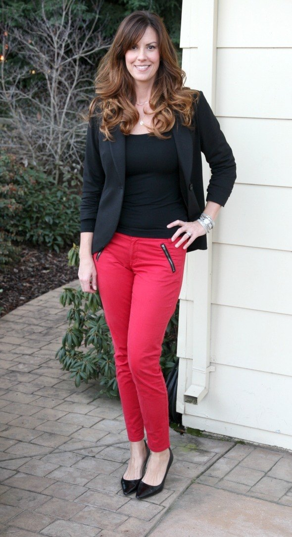 Causal Holiday Outfit with Festive Red