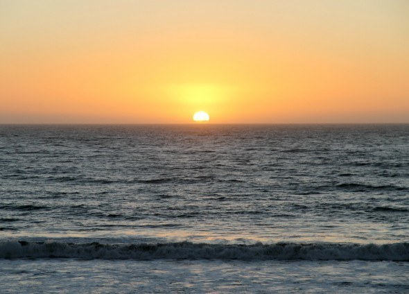 Sunset on Moonstone Beach, California