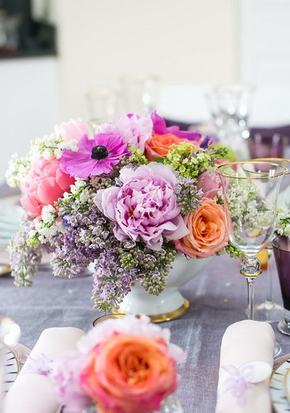 lilacs, peonies, tulips and roses - spring flower bouquet