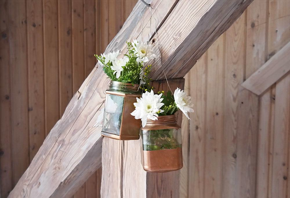 DIY flower vases from jelly jars | @skimbaco