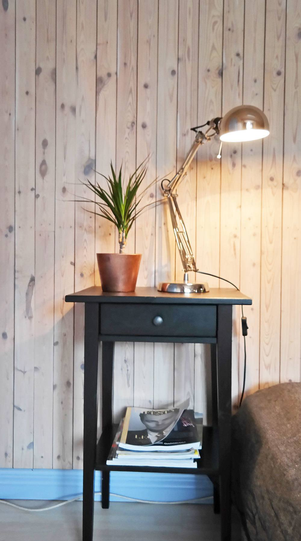 IKEA side table and lamp