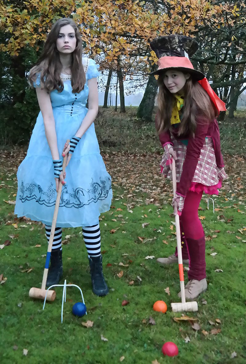 Alice in Wonderland and Mad Hatter costumes for Halloween