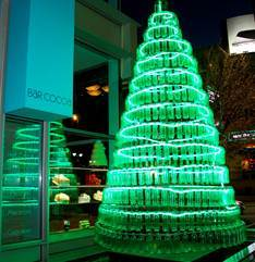 Ritz Carlton Green Christmas Tree. 17 feet tall and made of 789 recycled/recyclable green plastic bottles.
