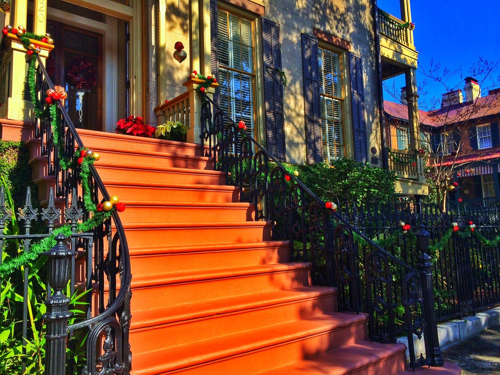 Beautifully decorated home s during the holidays in Savannah, Ga