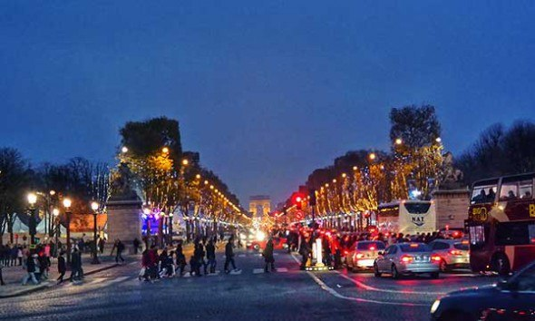 Champs-Elysées Christmas lights in Paris.