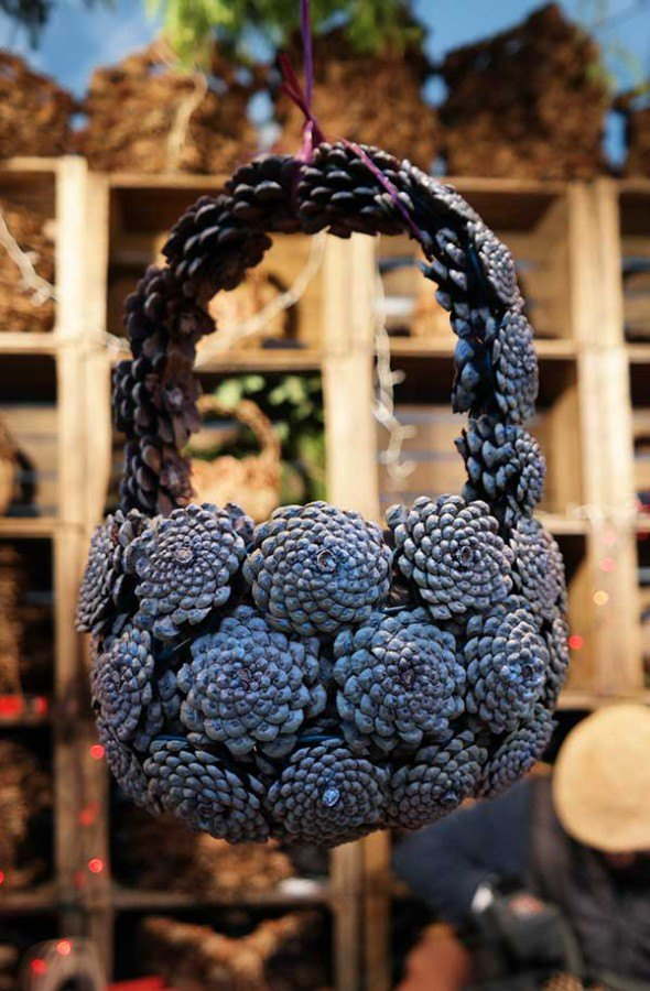 Basket made out of pine cones!