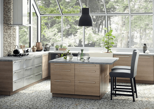 SEKTION 10'×10' kitchen with BROKHULT light gray walnut effect doors, drawer fronts, GREVSTA stainless steel drawer fronts and MAXIMERA soft-closing drawers $2,799