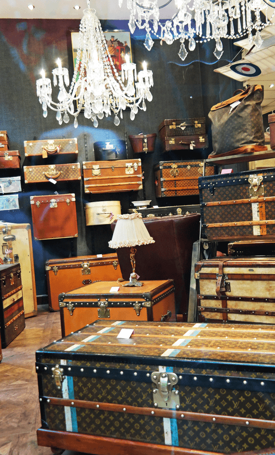 vintage travel trunks at Paris flea market