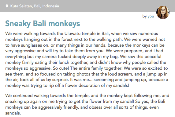Monkeys in Bali - my story on Findery.com/skimbaco