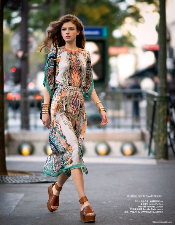 Yulia Serzhantova is all Hippied out and Glamorous in this Hippie Glam 70's editorial by Benjamin Kanarek