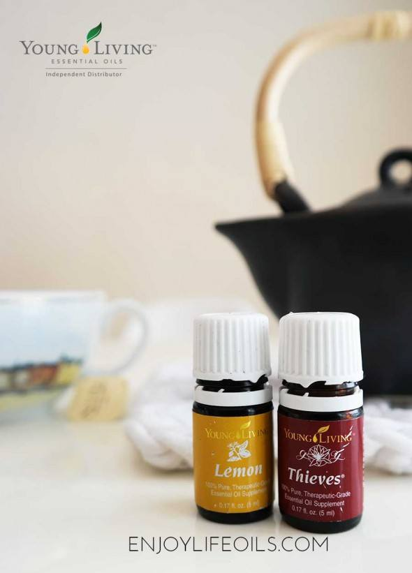 wellness tea with thieves essential oils. Learn more about Young Living essential oils at @skimbaco and @enjoylifeoils